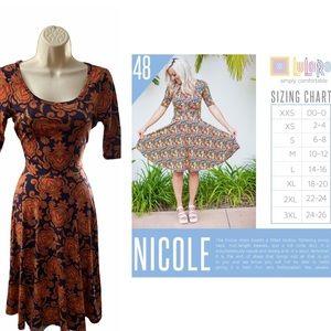 LuLaRoe XS Nicole Dress EUC